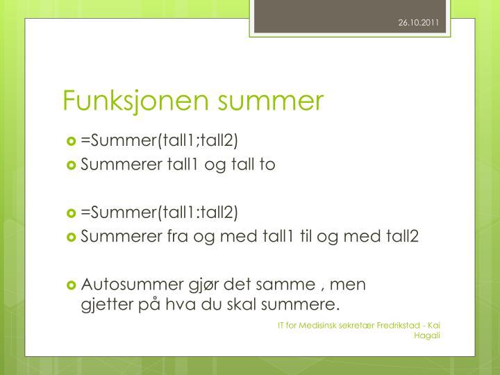 Funksjonen summer