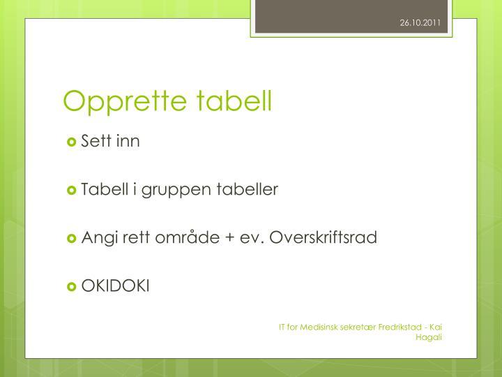 Opprette tabell