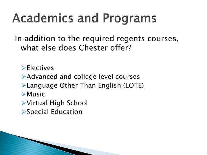 Academics and Programs