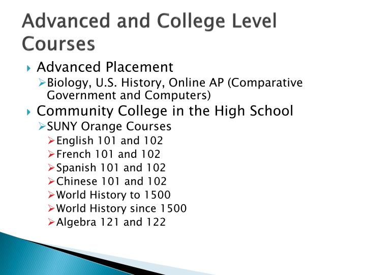 Advanced and College Level Courses