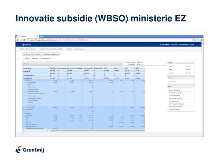 Innovatie subsidie (WBSO) ministerie EZ