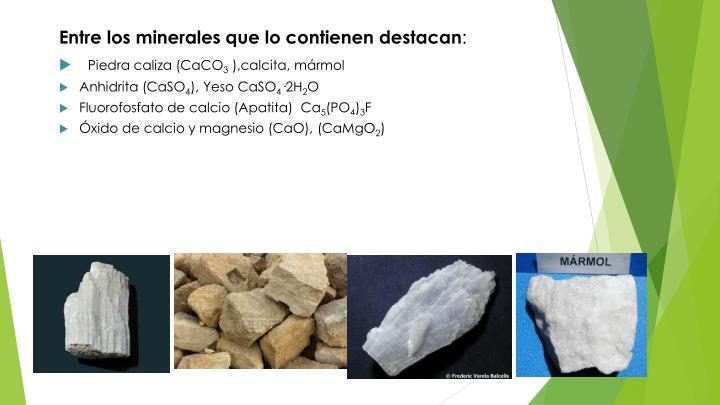 Entre los minerales que lo contienen destacan