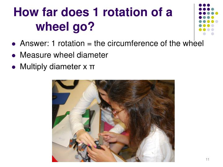 How far does 1 rotation of a 	wheel go?