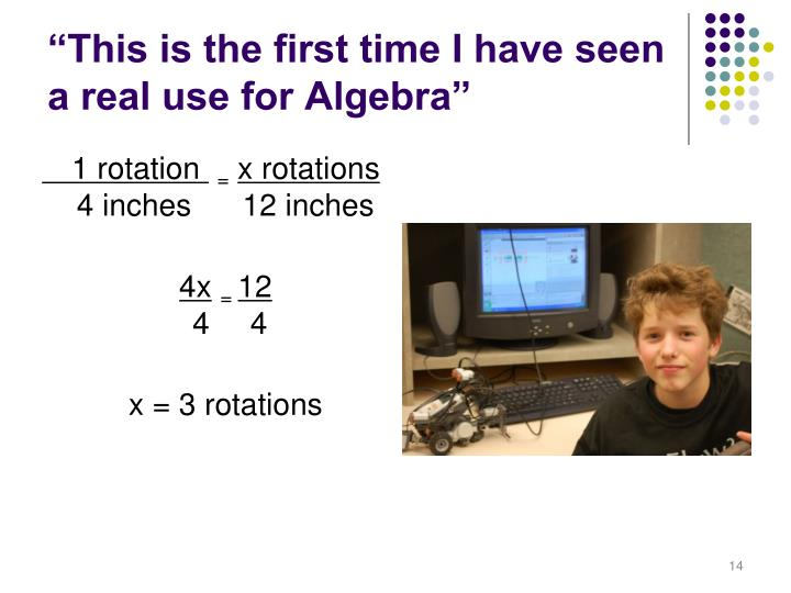 """This is the first time I have seen a real use for Algebra"""
