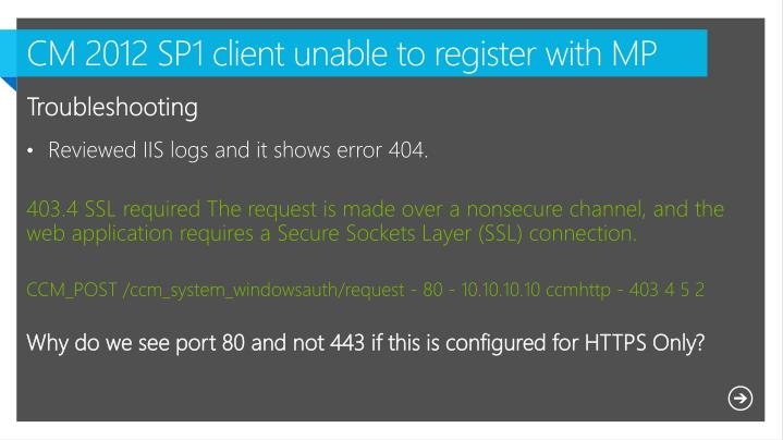 CM 2012 SP1 client unable to register with MP