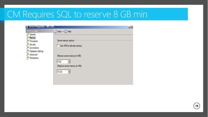CM Requires SQL to reserve 8 GB min