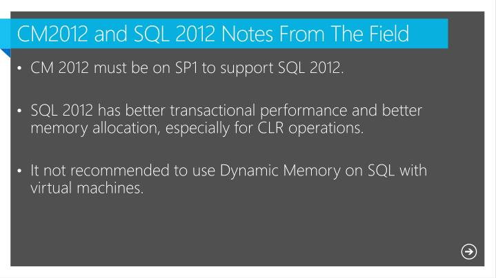 CM2012 and SQL 2012 Notes From The Field