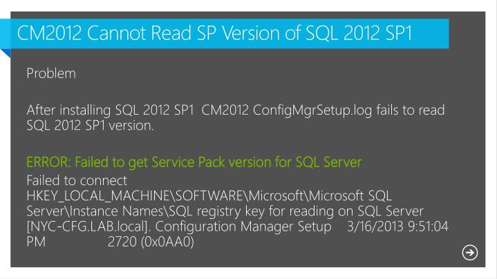 CM2012 Cannot Read SP Version of SQL 2012 SP1