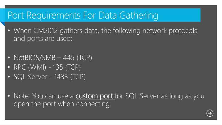 Port Requirements For Data Gathering