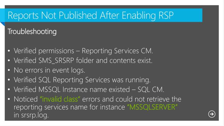 Reports Not Published After Enabling RSP