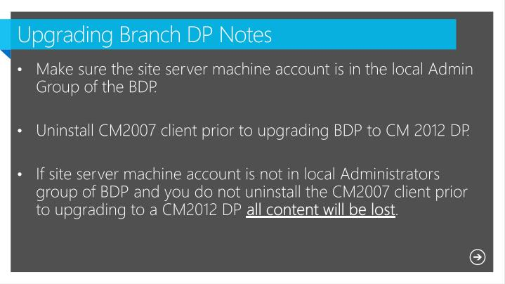 Upgrading Branch DP Notes