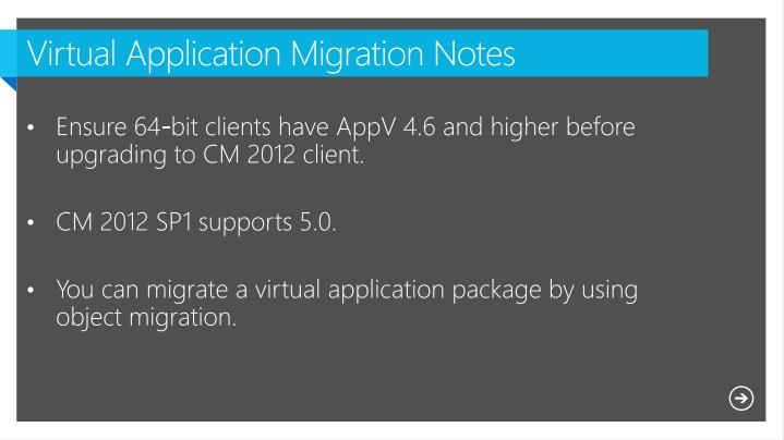 Virtual Application Migration Notes