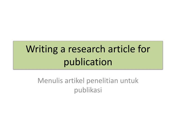 writing research article