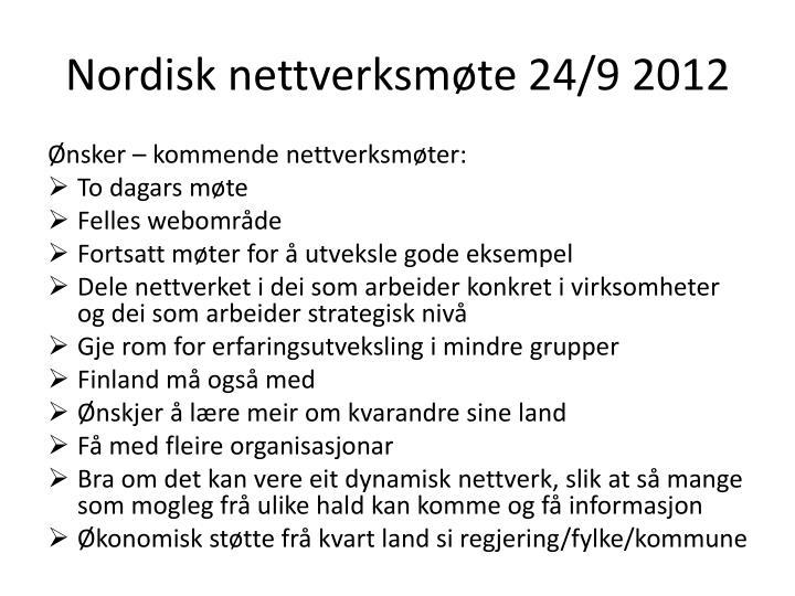 Nordisk nettverksmøte 24/9 2012