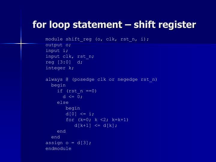 for loop statement – shift register