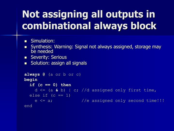 Not assigning all outputs in combinational always block