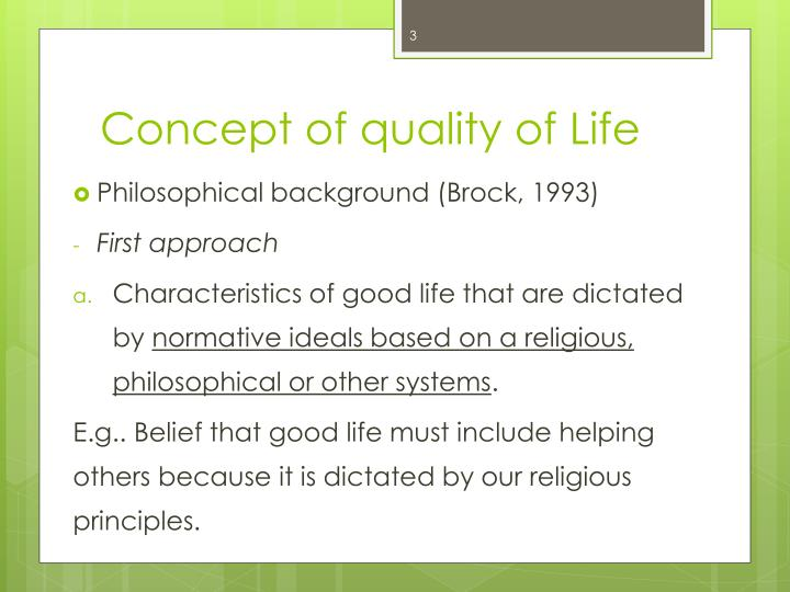 Concept of quality of Life