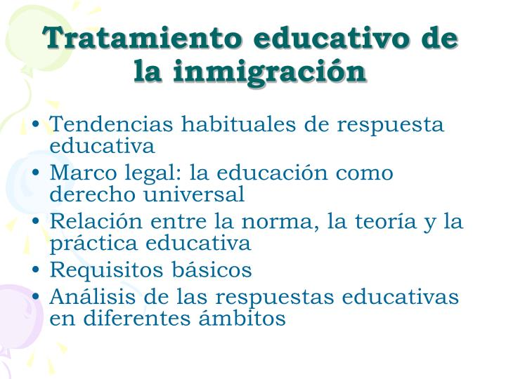 Tratamiento educativo de la inmigración