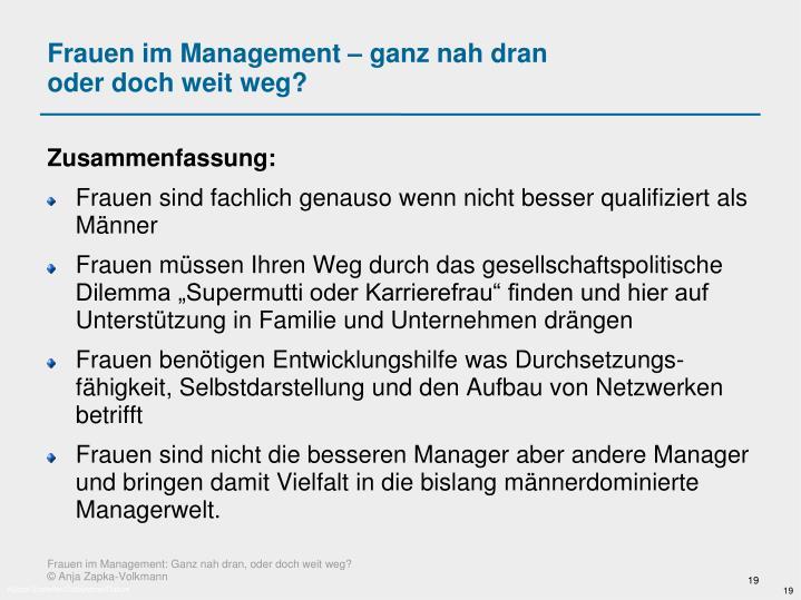 Frauen im Management – ganz nah dran