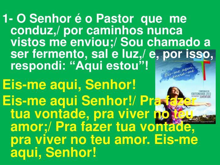 """1- O Senhor é o Pastor  que  me conduz,/ por caminhos nunca vistos me enviou;/ Sou chamado a ser fermento, sal e luz,/ e, por isso,  respondi: """"Aqui estou""""!"""