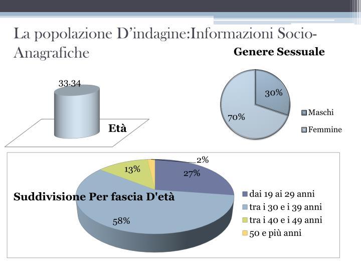 La popolazione D'indagine:Informazioni Socio-Anagrafiche