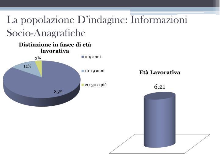 La popolazione D'indagine: Informazioni Socio-Anagrafiche
