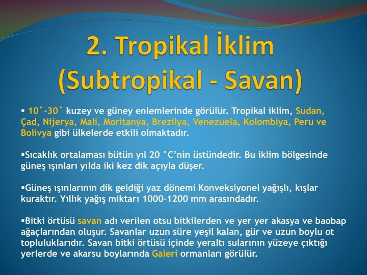 2. Tropikal İklim (