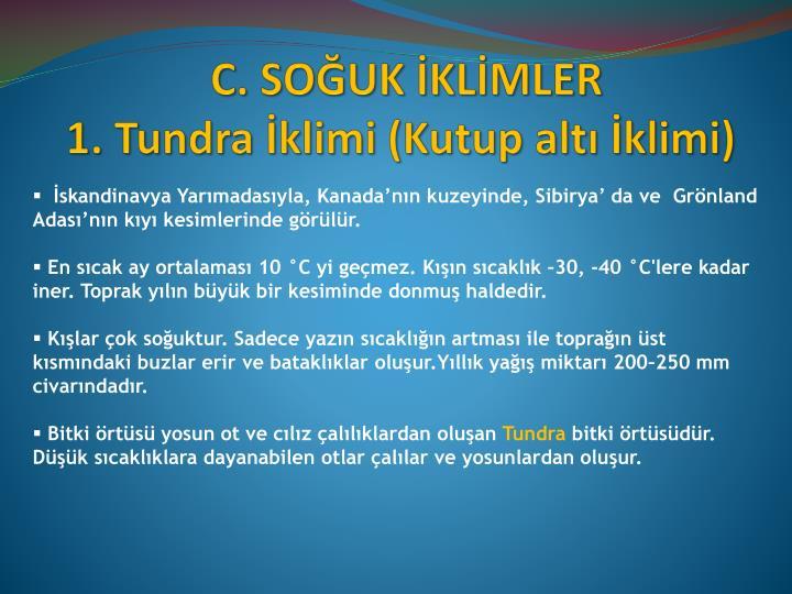 C. SOĞUK İKLİMLER