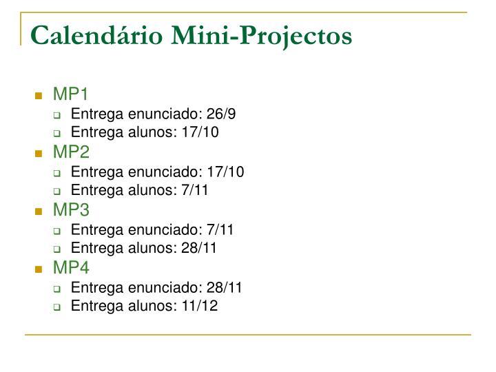 Calendário Mini-Projectos
