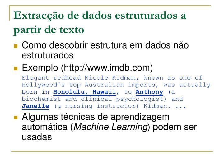 Extracção de dados estruturados a partir de texto