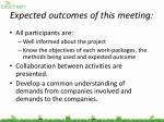 expected outcomes of this meeting