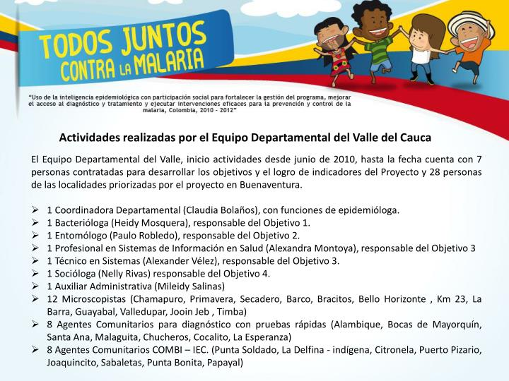 Actividades realizadas por el Equipo Departamental del Valle del Cauca