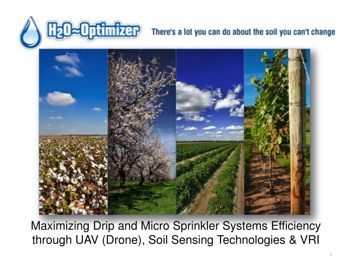 Maximizing Drip and Micro Sprinkler Systems Efficiency through UAV (Drone), Soil Sensing Technologie...