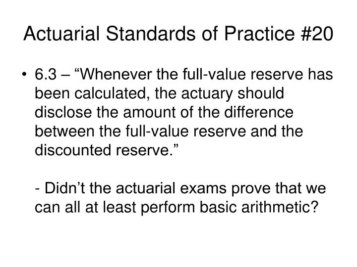 Actuarial Standards of Practice #20