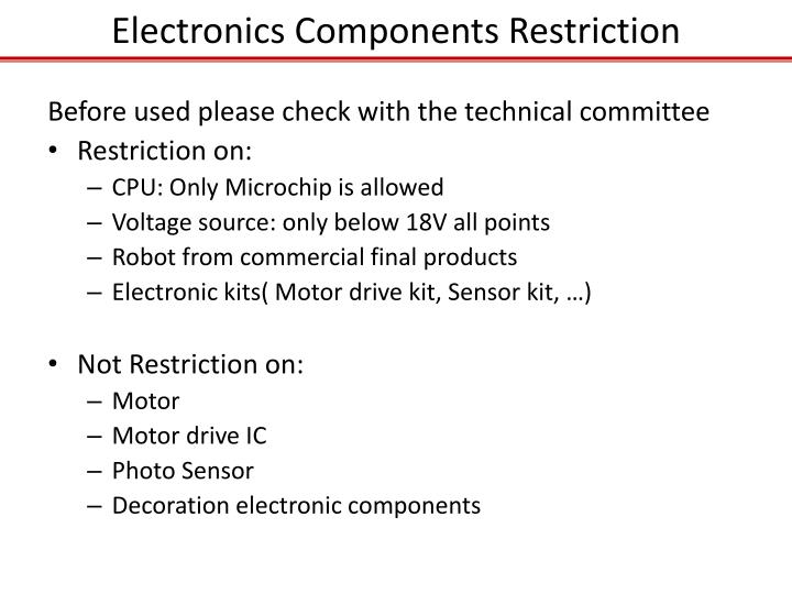 Electronics Components Restriction