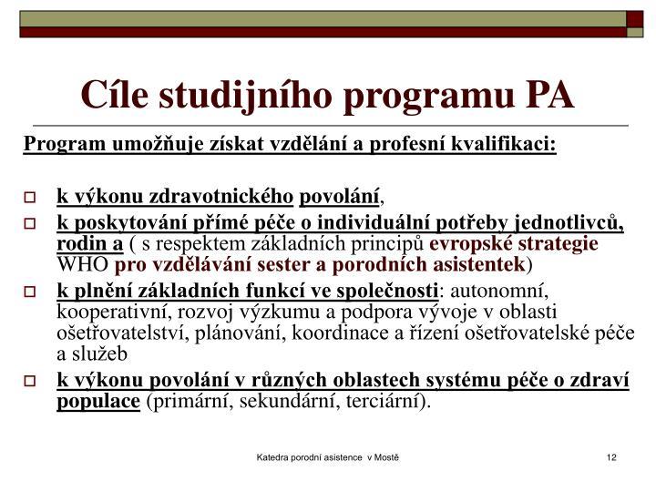 Cíle studijního programu PA