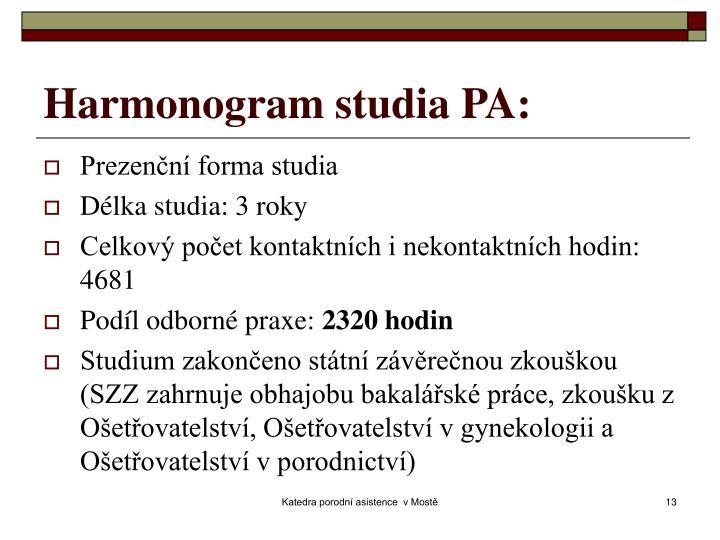 Harmonogram studia PA: