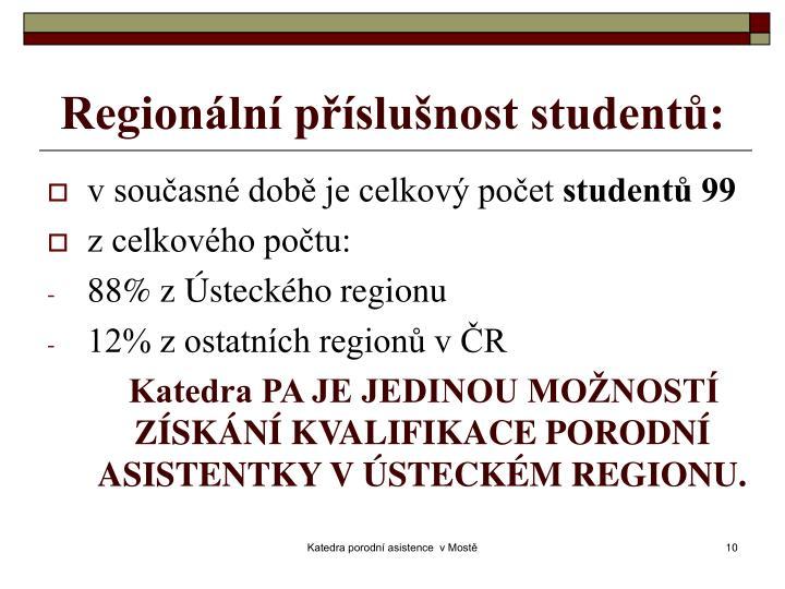 Regionální příslušnost studentů: