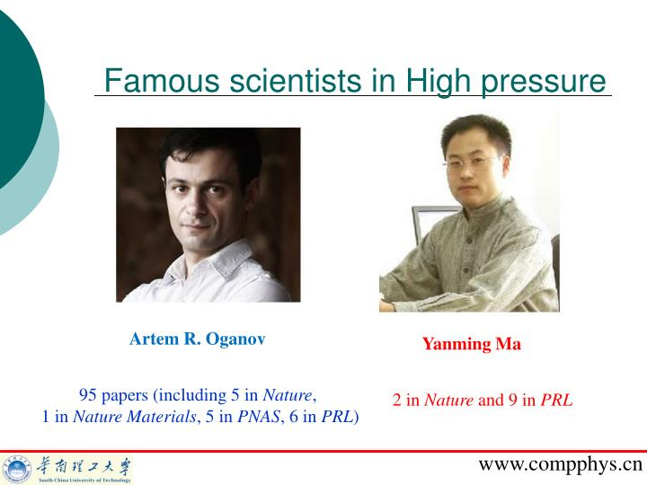 Famous scientists in High pressure