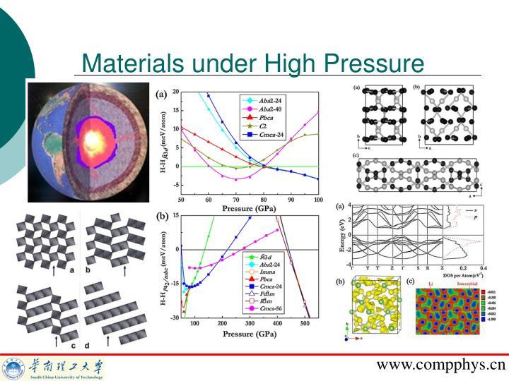 Materials under High Pressure