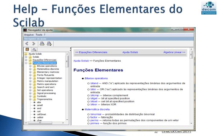 Help - Funções Elementares do Scilab