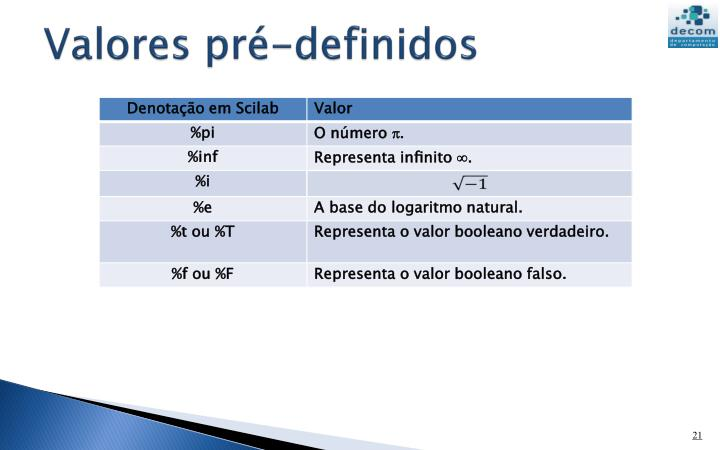 Valores pré-definidos