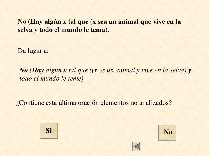 No (Hay algún x tal que (x sea un animal que vive en la selva y todo el mundo le tema).