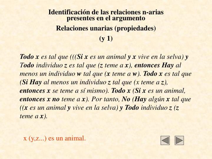 Identificación de las relaciones n-arias presentes en el argumento