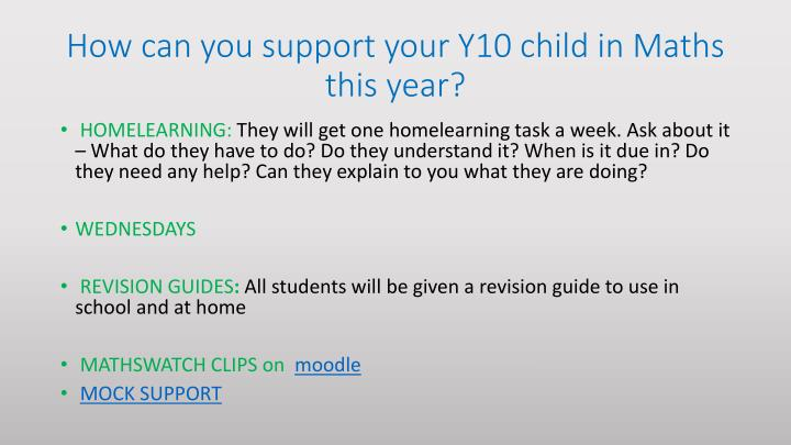 How can you support your Y10 child in Maths this year?