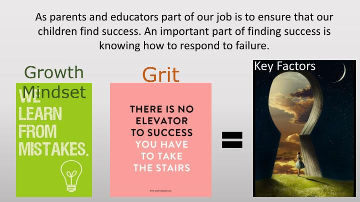 As parents and educators part of our job is to ensure that our children find success. An important part of finding success is knowing how to respond to failure.