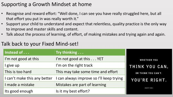 Supporting a Growth Mindset at home