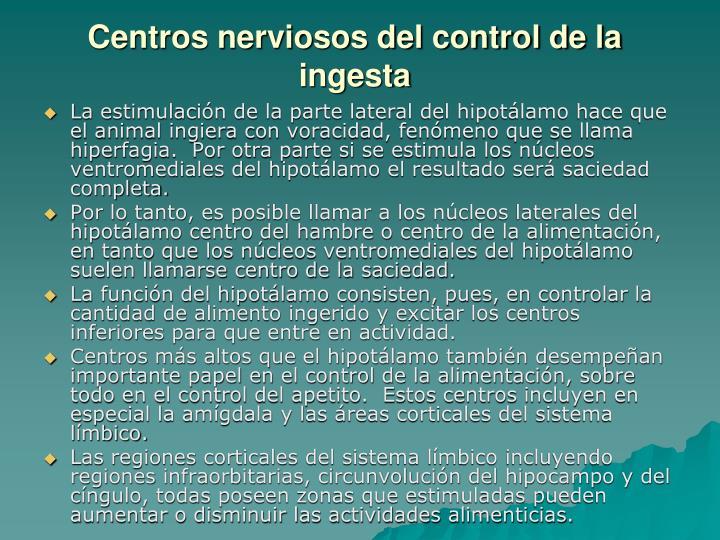 Centros nerviosos del control de la ingesta