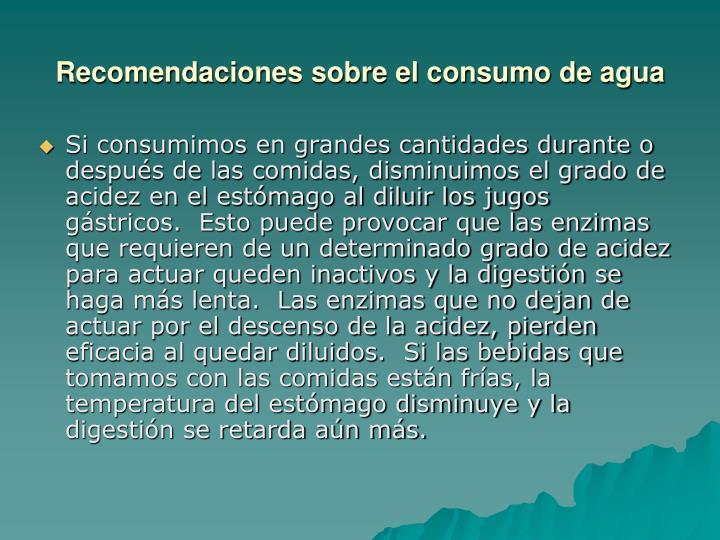 Recomendaciones sobre el consumo de agua