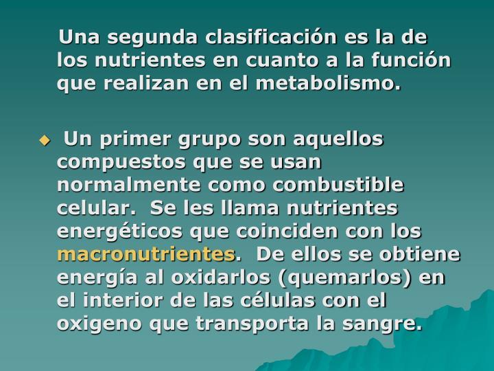 Una segunda clasificación es la de los nutrientes en cuanto a la función que realizan en el metabolismo.